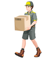 A delivery man with a big box vector image