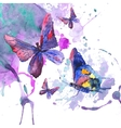 Abstract watercolor background with butterflies vector image vector image