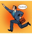 Super hero businessman runs forward screaming vector image