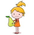 A little girl standing with big pear in her hands vector image