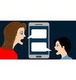 conceptual with woman and boy quarreling by vector image