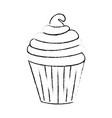 delicious cupcake cartoon vector image