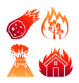 fire natural disaster colorful icons vector image