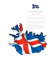 iceland map cut-out with waving flag vector image