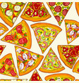 seamless pattern made of tasty pizza slices vector image