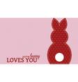 Single valentine rabbit wording vector image