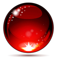 Red glossy sphere isolated on white vector image