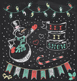 Vintage Christmas Chalkboard Hand Drawn Set 3 vector image