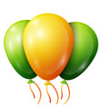 realistic green yellow balloons with ribbons vector image
