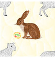 seamless texture easter bunny and easter eggs vector image