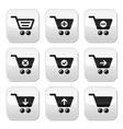 Shopping cart buttons set vector image