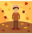 Thanksgiving Native Indian Boy vector image