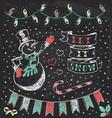 Vintage Christmas Chalkboard Hand Drawn Set 3 vector image