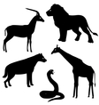 Set 2 of african animals silhouettes vector image