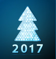 retro light banner a christmas tree with 2017 new vector image