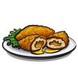 chicken kiev cutlet vector image