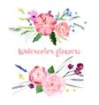 Watercolor floral borders vector image
