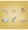 color icons withcowboys and wild west theme vector image