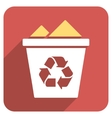Full Recycle Bin Flat Rounded Square Icon with vector image