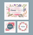 Set of invitation cards with colorful flowers 4 vector image