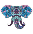 elephant head boho zentangle doodles vector image