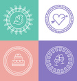 Linear wedding logos and icons Outline design for vector image