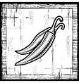 Retro chili pepper black and white vector image