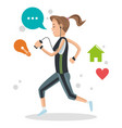 cute girl running with mp3 music social media vector image