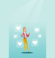 woman with laptop and heart icons vector image