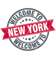 welcome to New York red round vintage stamp vector image