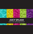 brick pattern set juicy splash seamless brick vector image