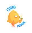 good morning funny cartoon comic chicken drinking vector image