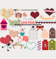 set of decorative elements for valentines day vector image