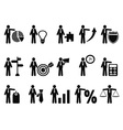 stick figure with business icons vector image