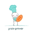 grain grower keeps the bread with the cook vector image