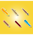 color icons with pens vector image