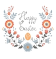 Easter card with floral wreath vector image