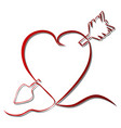 continuous line drawing red heart vector image