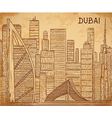 dubai cityscape on aged paper background vector image