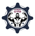 fitness gym label with strong athletic man vector image
