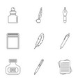 pen supply tools icon set outline style vector image