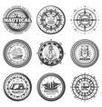 vintage monochrome round nautical labels set vector image