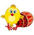 Cute funny chick with Easter egg vector image