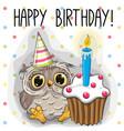 greeting card cute cartoon owl vector image