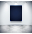 White room with black glass screen placeholder vector image
