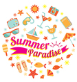Summer Flat Icons and Text Heading vector image