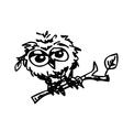 cute little owl cartoon sketch vector image