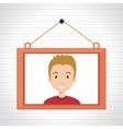 face boy framed picture hanging vector image