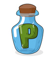 P in bottle for scientific research letter in a vector image