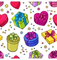 Seamless pattern of colorful sketch gifts with vector image